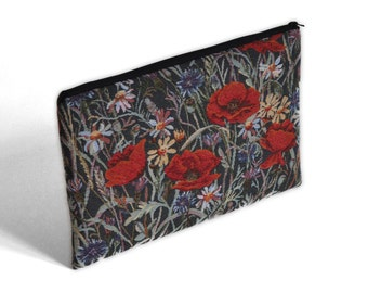 SALE! iPad 12 inch Case, Cover. Unique Upholstery Fabric Device Bag. Red Poppy Upholstered Sleeve.