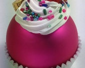 Cupcake Ornament - Matte Hot Pink