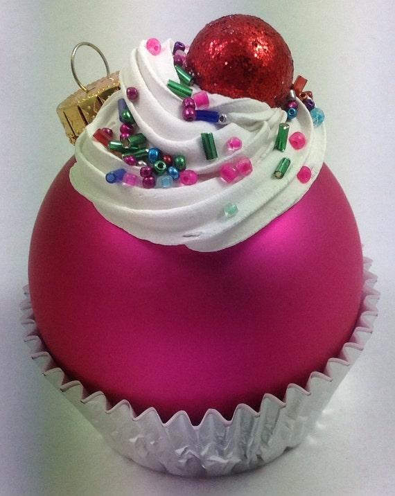 Cupcake ornament matte hot pink by gatorgrrl on etsy