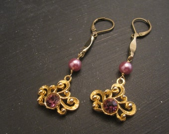 SALE Gold and dark pink purple vintage assemblage earrings Prosperity