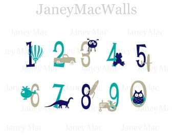 Numbers with Graphics Wall Sticker Decal - Vinyl Numbers Wall Decal - Boy Vinyl Wall Art - Truck, Alien, Helicopter, Dinosaur, Owl - CB158