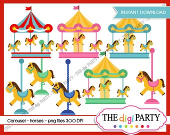 carousel cliparts instant download carnival clipart toy horses pastel colours digital commercial use