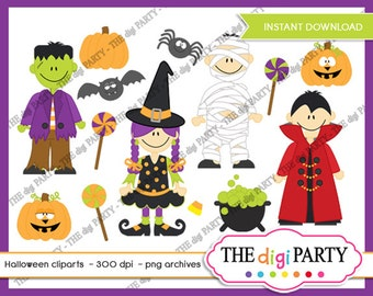 halloween cliparts digital clipart Commerical Use instant download, frankenstein, dracula, graphics
