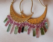 Tourmaline Hoop Earrings - Tourmaline Earrings - Green Earrings - Pink Earrings - Everyday Earrings - Hoop Earrings