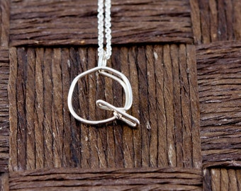 Sterling Silver Wire Wrapped Initial Pendant and Necklace - Letter Q