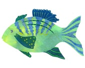 Collage Art Print: Fanciful Fish Series #2 - 8 x10 or 10x13 - Colourful Fish Design with Green, Turquoise, Blue and Coral