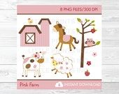 Pink Farm Animal Clipart ...