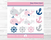 Cute Pink Whale Clipart /...