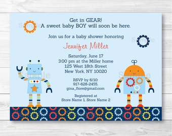 Robot Baby Shower Invitation / Baby Bot / PRINTABLE