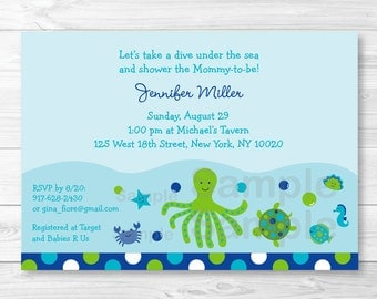 Under The Sea Baby Shower Invitation / Under The Sea Baby Shower Invite / Sea Animals / Baby Boy / PRINTABLE A356