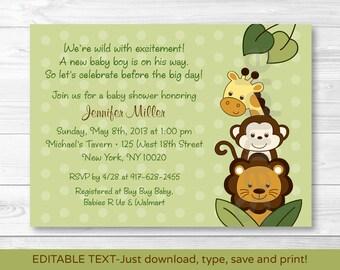 Safari Jungle Animal Baby Shower Invitation INSTANT DOWNLOAD Editable PDF