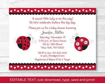 Cute Red Ladybug Baby Shower Invitation / Ladybug Baby Shower Invite / Red & Black Ladybugs / Baby Girl / INSTANT DOWNLOAD Editable PDF