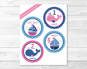 Cute Pink Nautical Monthly Milestone Stickers / Sailboat Milestone Stickers / Whale Milestones Stickers / Printable INSTANT DOWNLOAD