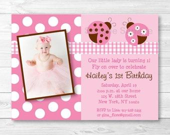 Pink Ladybug Birthday Invitation PRINTABLE