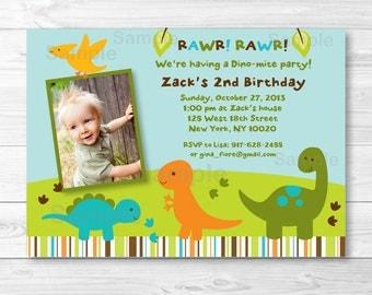 Cute Dinosaur Birthday Invitation / Dinosaur Birthday Invite / Boy Dinosaur / 1st Birthday / 2nd Birthday / Any Age / PRINTABLE