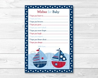 Cute Sailboat Wishes for Baby Cards / Sailboat Baby Shower / Nautical Baby Shower ./ Navy & Red / Baby Boy / Printable INSTANT DOWNLOAD