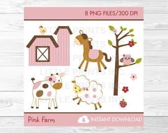 Pink Farm Animal Clipart PERSONAL USE Instant Download