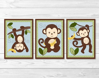 Monkey Jungle Nursery Wall Art PRINTABLE Instant Download