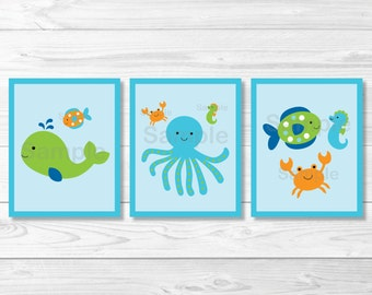 Cute Under the Sea Nursery Wall Art / Under The Sea Nursery Wall Art / Sea Animals / Nautical / Baby Boy / PRINTABLE Instant Download