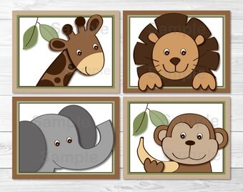 Cute Jungle Animal Nursery Wall Art / Safari Nursery Wall Art / Jungle Animals / Zoo Animals / Gender Neutral / PRINTABLE Instant Download