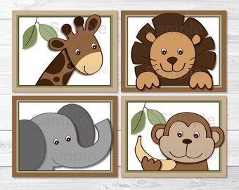 Baby Zoo Jungle Animal Nursery Wall Art PRINTABLE Instant Download
