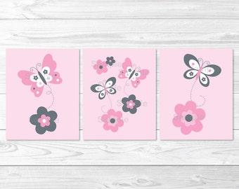 Cute Pink Butterfly Nursery Wall Art / Butterfly Nursery Wall Art / Pink & Grey / Baby Girl Nursery / PRINTABLE Instant Download