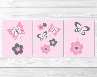 Cute Pink Butterfly Nursery Wall Art / Butterfly Nursery Wall Art / Pink & Grey / Baby Girl Nursery / PRINTABLE Instant Download A351