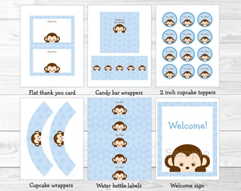 Monkey Baby Shower Party Package INSTANT DOWNLOAD