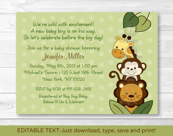 cute jungle animal baby shower invitation / jungle animal baby, Baby shower