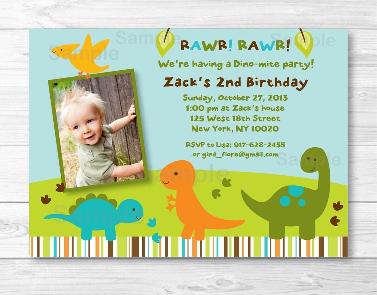 Dinosaur Birthday Invitation / Boy Dinosaur / 1st Birthday