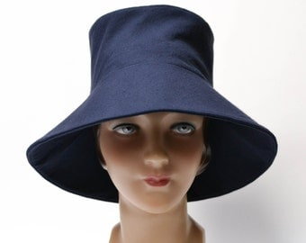 ON SALE - Retro Sun Hat in Blue Cotton Canvas - Women's Sun Hat