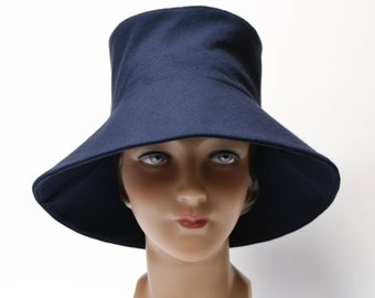 Retro Sun Hat in Blue Cotton Canvas - Made to Order in Your Size