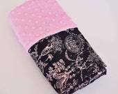GORGEOUS NEW BLANKET.... Black and Pink  toile satin print  with pink minky dimples...... Elegant baby shower gift