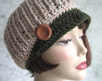 Crochet Newsboy Hat Pattern Ribbed Stitch With Brim Instant Download Easy To Make