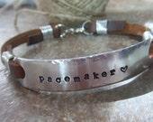Medical Bracelet, Personalized Bracelet, Leather Bracelet, Drug Allergy Bracelet, Husband Gift, Medical Alert Bracelet, ID Bracelet, Health