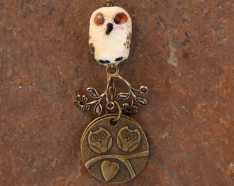 Handmade Lampwork Glass Owl Bead N Antique Brass Charsm Gorgeous DeSIGNeR Purse Charm or Accessory