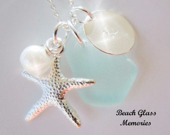 Personalized Aqua Blue Seaglass Necklace Monogrammed  Beach Sea Glass Jewelry Starfish Necklace
