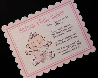 Personalized Baby Shower Invitations, baby girl dotted sleeper, set of 40