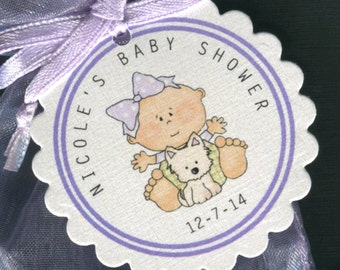 Personalized Baby Shower Favor Tags, baby girl with puppy, set of 25