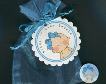 Personalized Baby Girl Baby Shower Favor Candy Bags, Baby Girl With Blue Bow, Includes Tags Candy Stickers Blue Organza Bags, set of 20