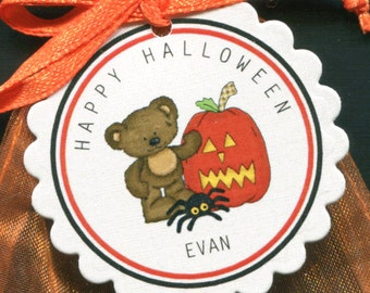 Personalized Halloween Favor Tags featuring a teddy bear with a pumpkin and spider, set of 25