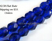 25 Cobalt Czech Glass Bead 6mm Fire Polished Faceted Cobalt Blue Round - 25 pc - G6035-CT25