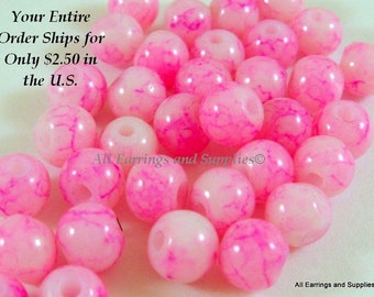 36 White Glass Bead 6mm with Pink Striation 36 pc - G6012-PW36