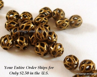 25 Antique Gold Bead 4mm Metal Filigree w Cutout Plated Brass - 25 pc - 6258-8