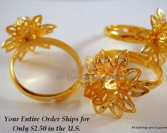 SALE - 3 Gold Flower Ring Blank Base Adjustable Add A Bead - 3 pc - R8006-G3