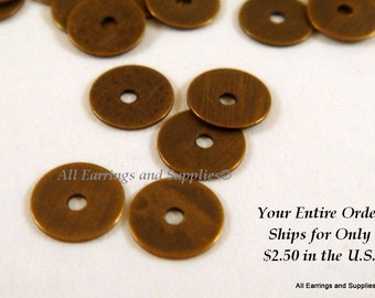 50 Antique Bronze Heishi Spacer Bead Finished Brass 5x0.3mm Flat Round - 50 pc - 5829-6