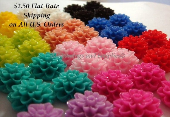 44 Flower Cabochon Dahlia Resin Jumbo Assortment 15mm - No Holes - 44 pc - CA2016-AS44