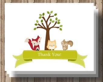WOODLAND ANIMALS  Baby Shower Thank You Cards Folded Notecards/ Set of 10 Woodland Baby Shower Boxed / Forest Animals/ Fox,  Owl,  Squirrel