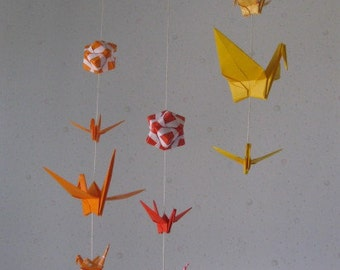 "Mix Sized Origami Mobile - 10 Cranes and 3 Modules (Orange Shades), folded from 3"" (7.5cm) to 6"" (15cm) Solid and Patterned, Home Decor"