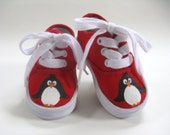 Penguin Shoes, Kid's Hand Painted Red Canvas Sneakers, Boys or Girls, Baby and Toddler